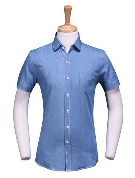 乐动体育官网下载app牛仔面料衬衫,定做短袖