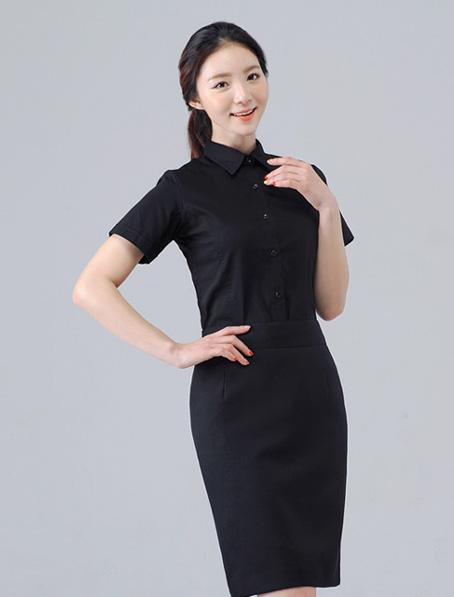 乐动体育官网下载app定做女款短袖衬衫,黑色
